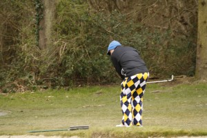 Drift winner, Kevin Wellings sports his new Loudmouth Trousers