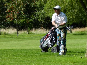 Sprowston Winner, Iain Yule in his Loudmouth 'Galaxy Girls' trousers!